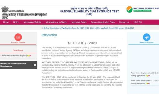 NEET 2020 notification released at ntaneet.nic.in: Registration begins today at 4 pm, check details here